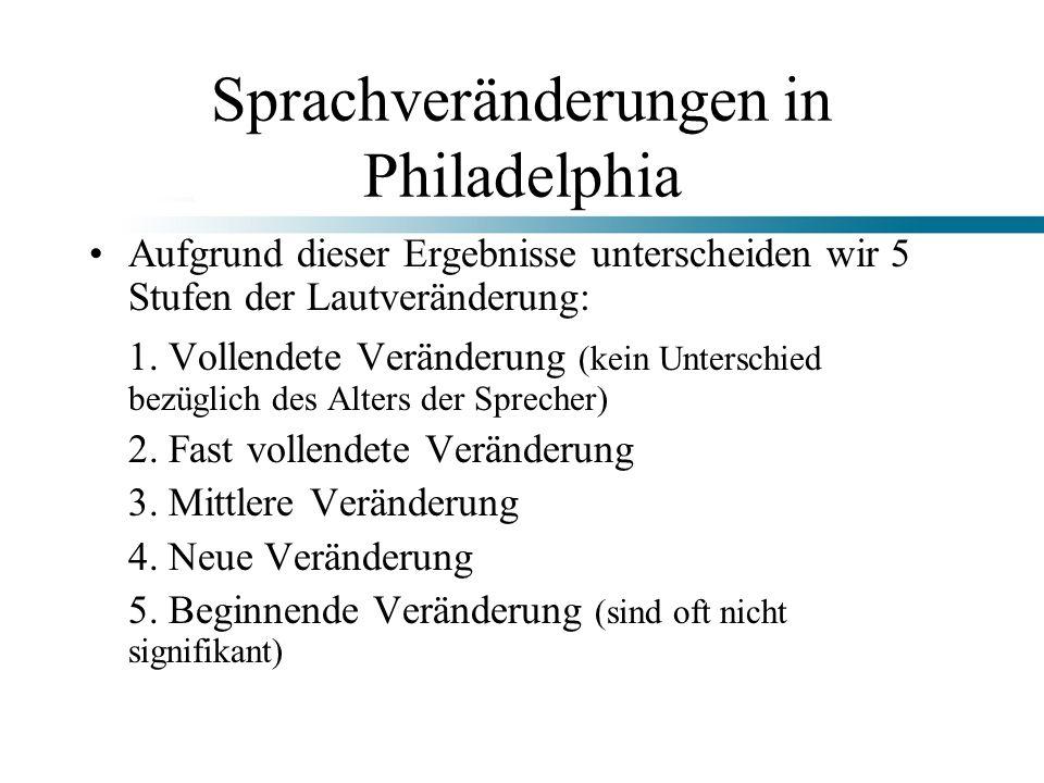 Sprachveränderungen in Philadelphia Aufgrund dieser Ergebnisse unterscheiden wir 5 Stufen der Lautveränderung: 1. Vollendete Veränderung (kein Untersc