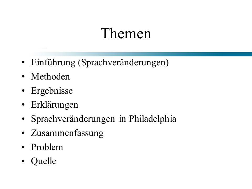 Themen Einführung (Sprachveränderungen) Methoden Ergebnisse Erklärungen Sprachveränderungen in Philadelphia Zusammenfassung Problem Quelle
