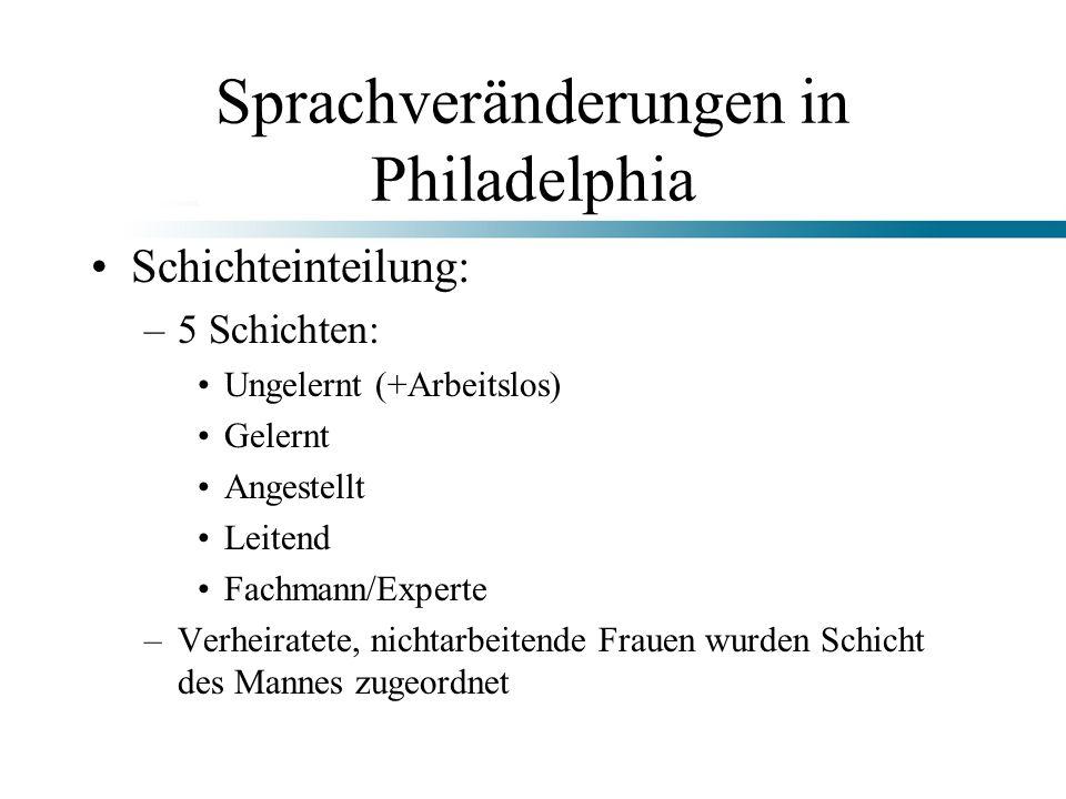 Sprachveränderungen in Philadelphia Schichteinteilung: –5 Schichten: Ungelernt (+Arbeitslos) Gelernt Angestellt Leitend Fachmann/Experte –Verheiratete