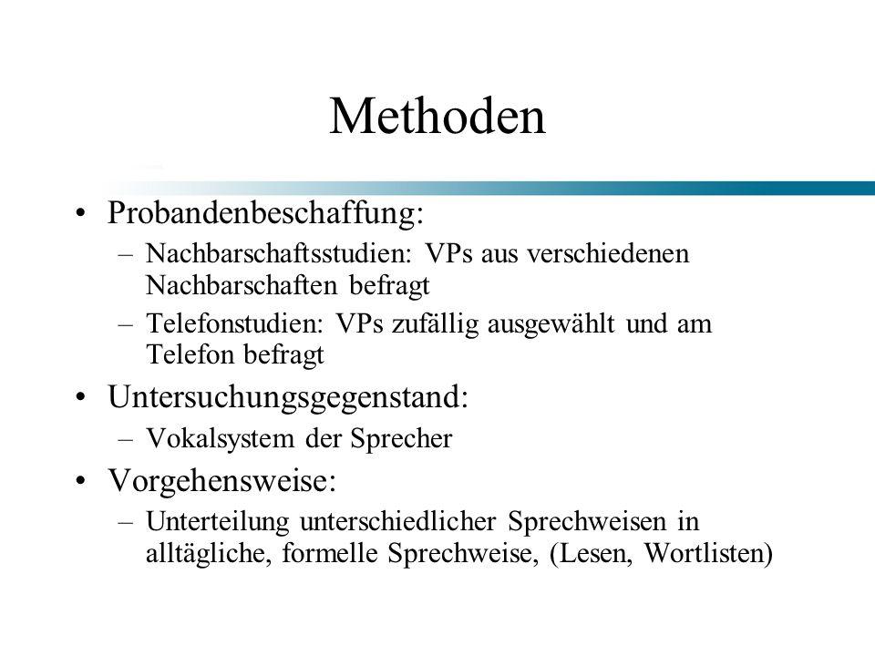 Methoden Probandenbeschaffung: –Nachbarschaftsstudien: VPs aus verschiedenen Nachbarschaften befragt –Telefonstudien: VPs zufällig ausgewählt und am T