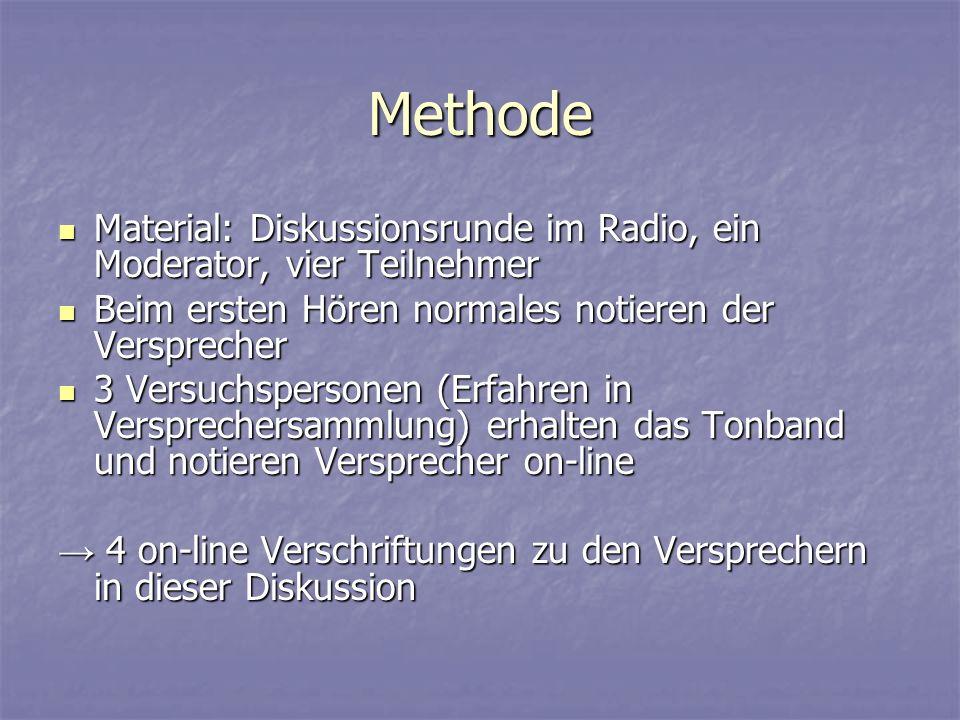 Methode Material: Diskussionsrunde im Radio, ein Moderator, vier Teilnehmer Material: Diskussionsrunde im Radio, ein Moderator, vier Teilnehmer Beim e