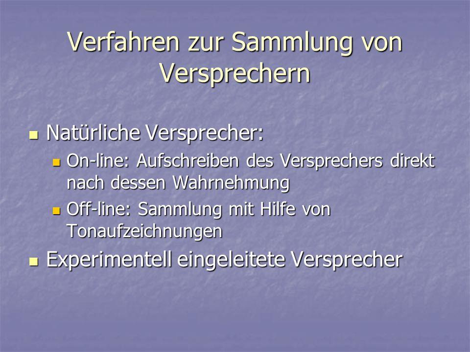 Verfahren zur Sammlung von Versprechern Natürliche Versprecher: Natürliche Versprecher: On-line: Aufschreiben des Versprechers direkt nach dessen Wahr
