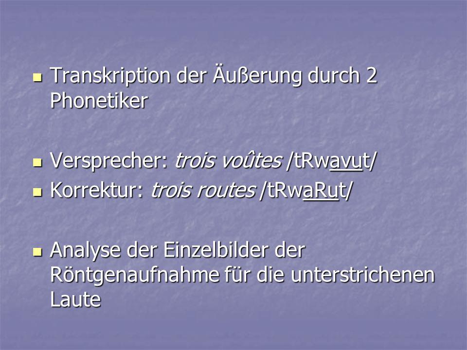 Transkription der Äußerung durch 2 Phonetiker Transkription der Äußerung durch 2 Phonetiker Versprecher: trois voûtes /tRwavut/ Versprecher: trois voû