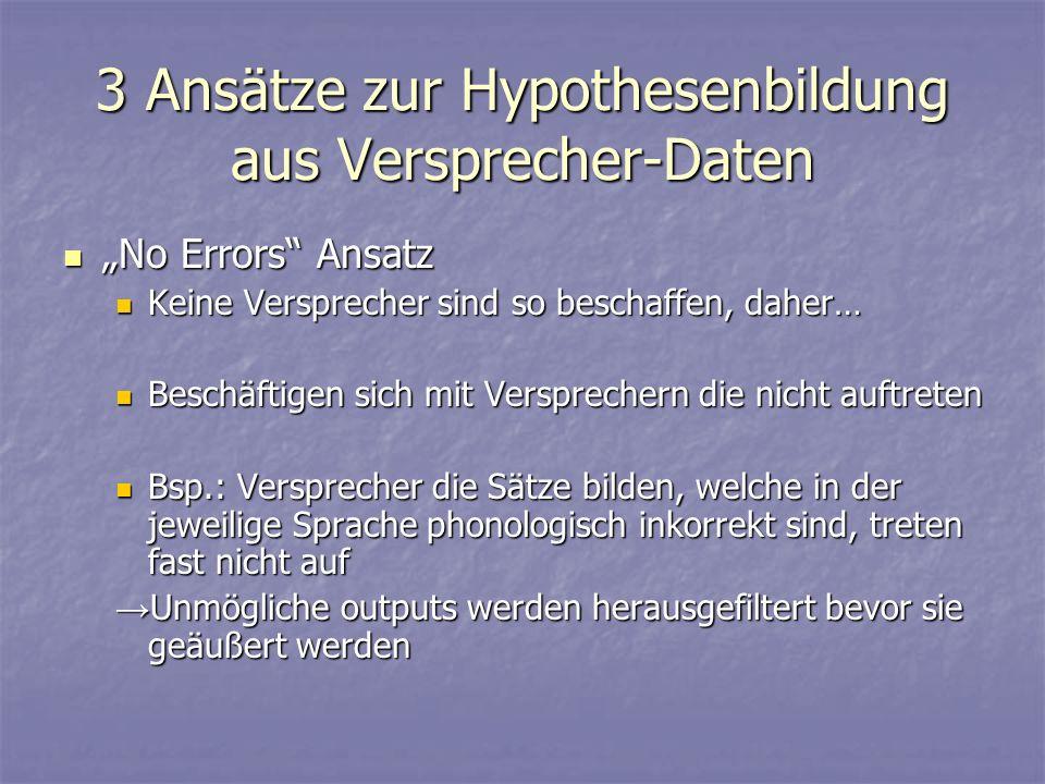 3 Ansätze zur Hypothesenbildung aus Versprecher-Daten No Errors Ansatz No Errors Ansatz Keine Versprecher sind so beschaffen, daher… Keine Versprecher