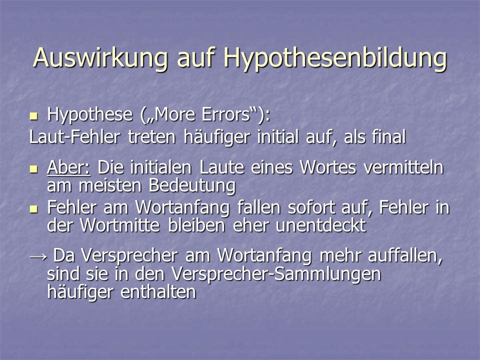 Auswirkung auf Hypothesenbildung Hypothese (More Errors): Hypothese (More Errors): Laut-Fehler treten häufiger initial auf, als final Aber: Die initia