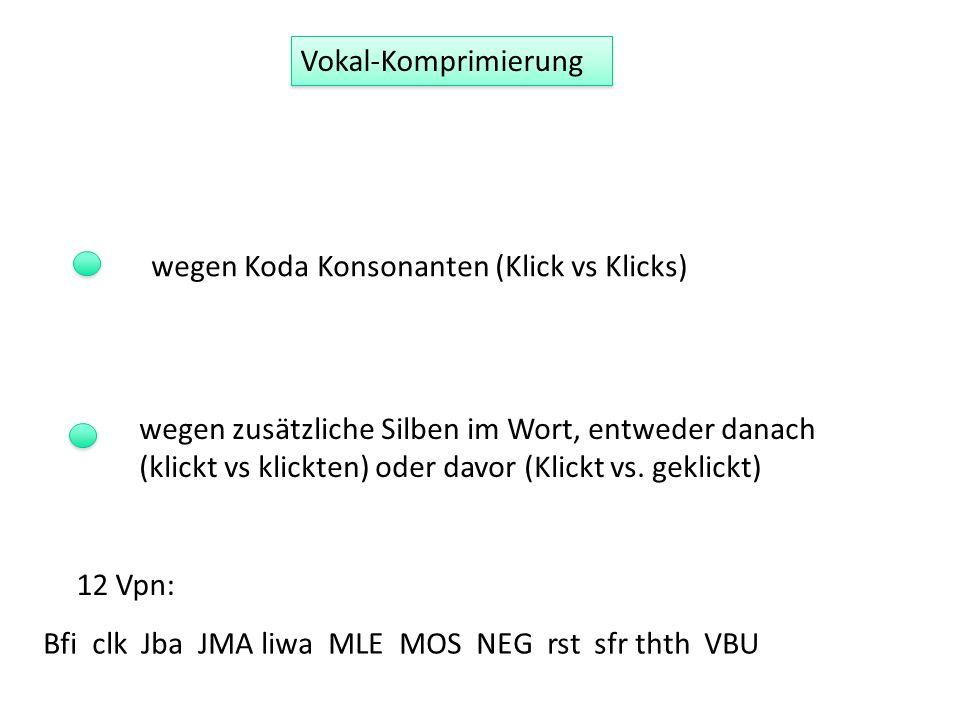 Vokal-Komprimierung wegen Koda Konsonanten (Klick vs Klicks) wegen zusätzliche Silben im Wort, entweder danach (klickt vs klickten) oder davor (Klickt