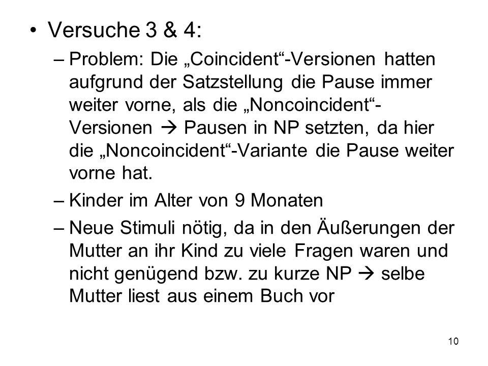 10 Versuche 3 & 4: –Problem: Die Coincident-Versionen hatten aufgrund der Satzstellung die Pause immer weiter vorne, als die Noncoincident- Versionen