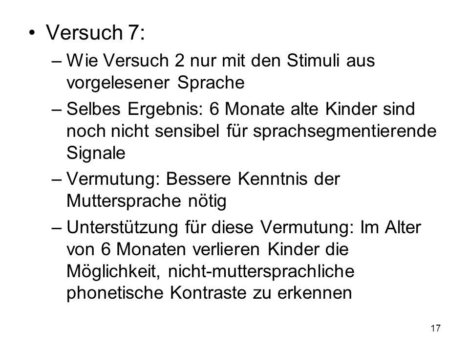 17 Versuch 7: –Wie Versuch 2 nur mit den Stimuli aus vorgelesener Sprache –Selbes Ergebnis: 6 Monate alte Kinder sind noch nicht sensibel für sprachse