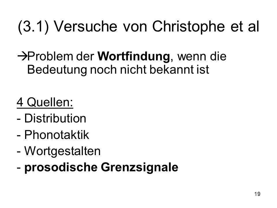 19 (3.1) Versuche von Christophe et al Problem der Wortfindung, wenn die Bedeutung noch nicht bekannt ist 4 Quellen: - Distribution - Phonotaktik - Wo