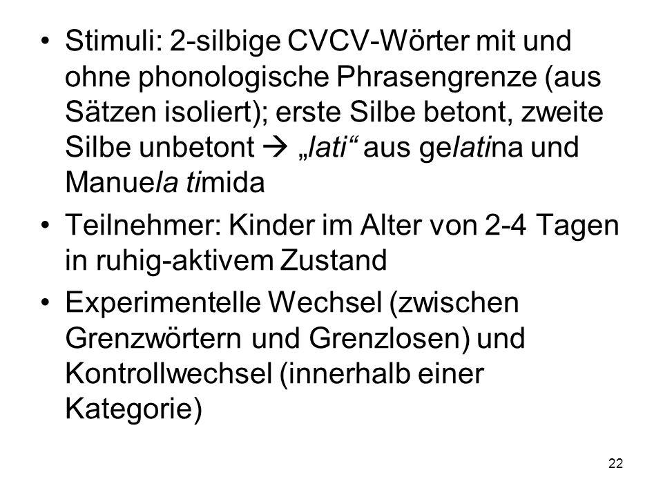 22 Stimuli: 2-silbige CVCV-Wörter mit und ohne phonologische Phrasengrenze (aus Sätzen isoliert); erste Silbe betont, zweite Silbe unbetont lati aus g