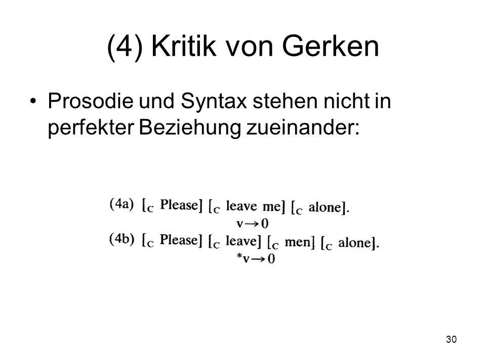 30 (4) Kritik von Gerken Prosodie und Syntax stehen nicht in perfekter Beziehung zueinander: