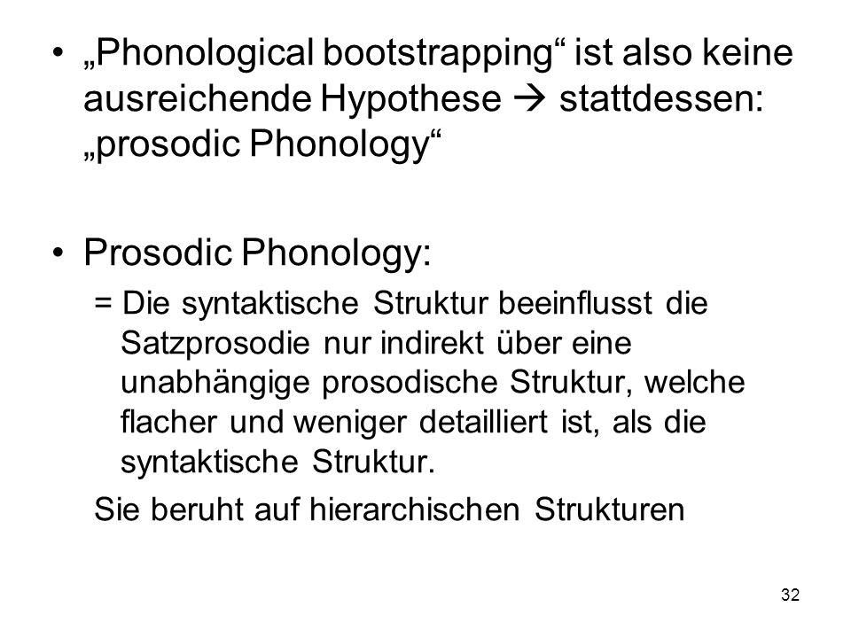 32 Phonological bootstrapping ist also keine ausreichende Hypothese stattdessen: prosodic Phonology Prosodic Phonology: = Die syntaktische Struktur be