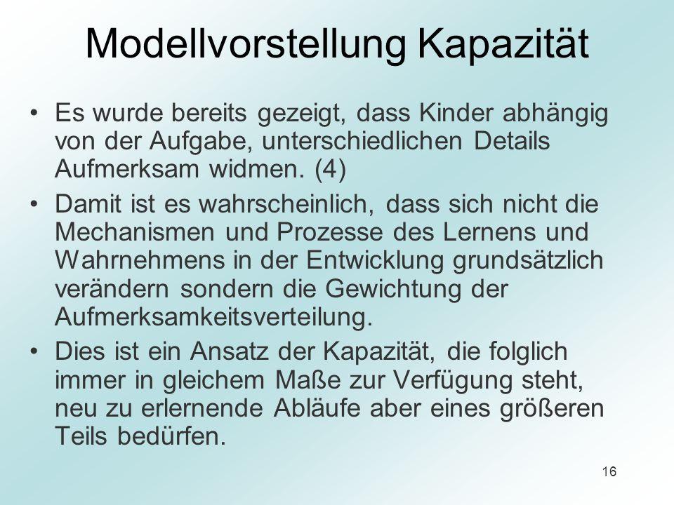 16 Modellvorstellung Kapazität Es wurde bereits gezeigt, dass Kinder abhängig von der Aufgabe, unterschiedlichen Details Aufmerksam widmen. (4) Damit