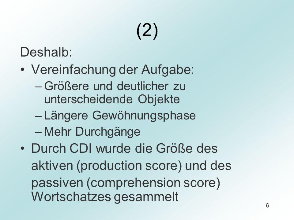 6 (2) Deshalb: Vereinfachung der Aufgabe: –Größere und deutlicher zu unterscheidende Objekte –Längere Gewöhnungsphase –Mehr Durchgänge Durch CDI wurde