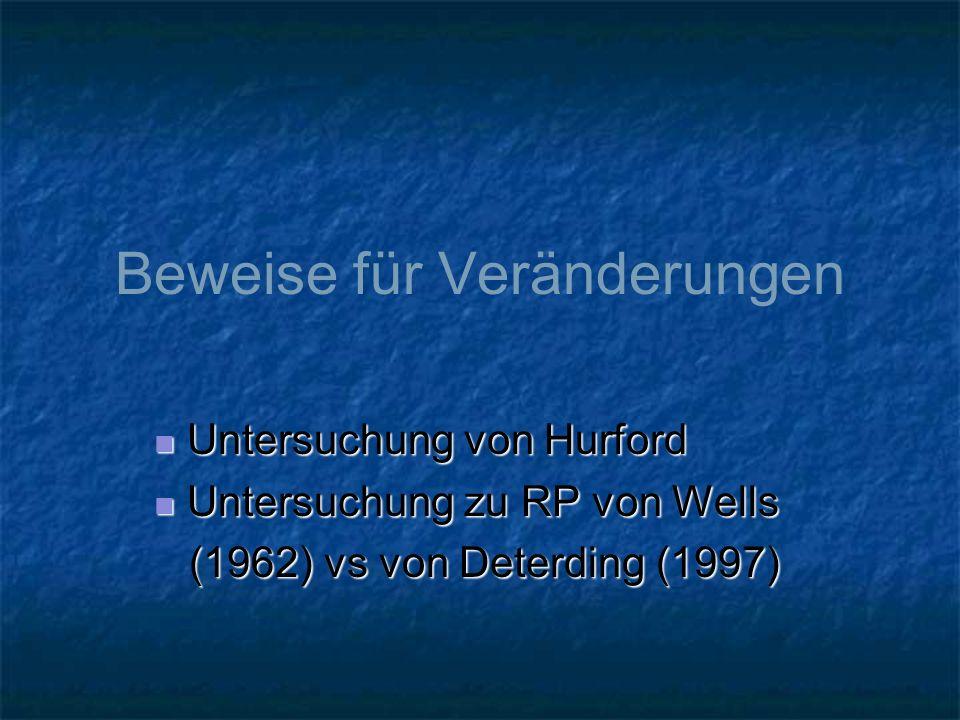 Beweise für Veränderungen Untersuchung von Hurford Untersuchung von Hurford Untersuchung zu RP von Wells Untersuchung zu RP von Wells (1962) vs von De