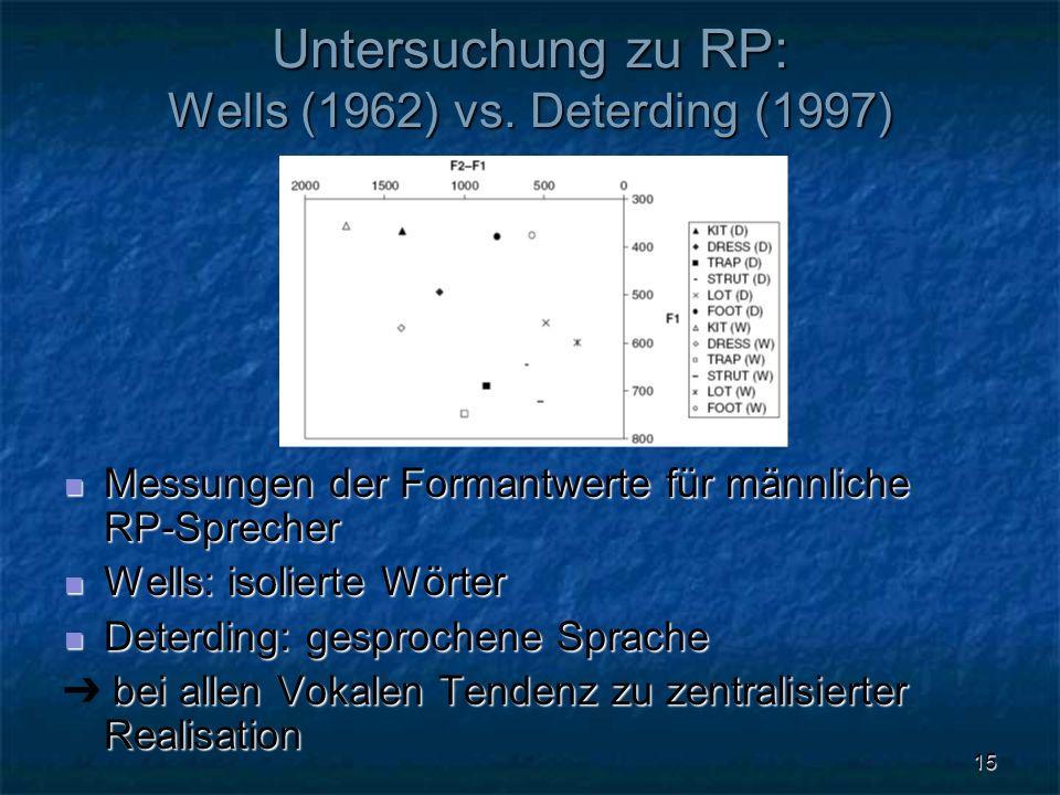 15 Untersuchung zu RP: Wells (1962) vs. Deterding (1997) Messungen der Formantwerte für männliche RP-Sprecher Messungen der Formantwerte für männliche