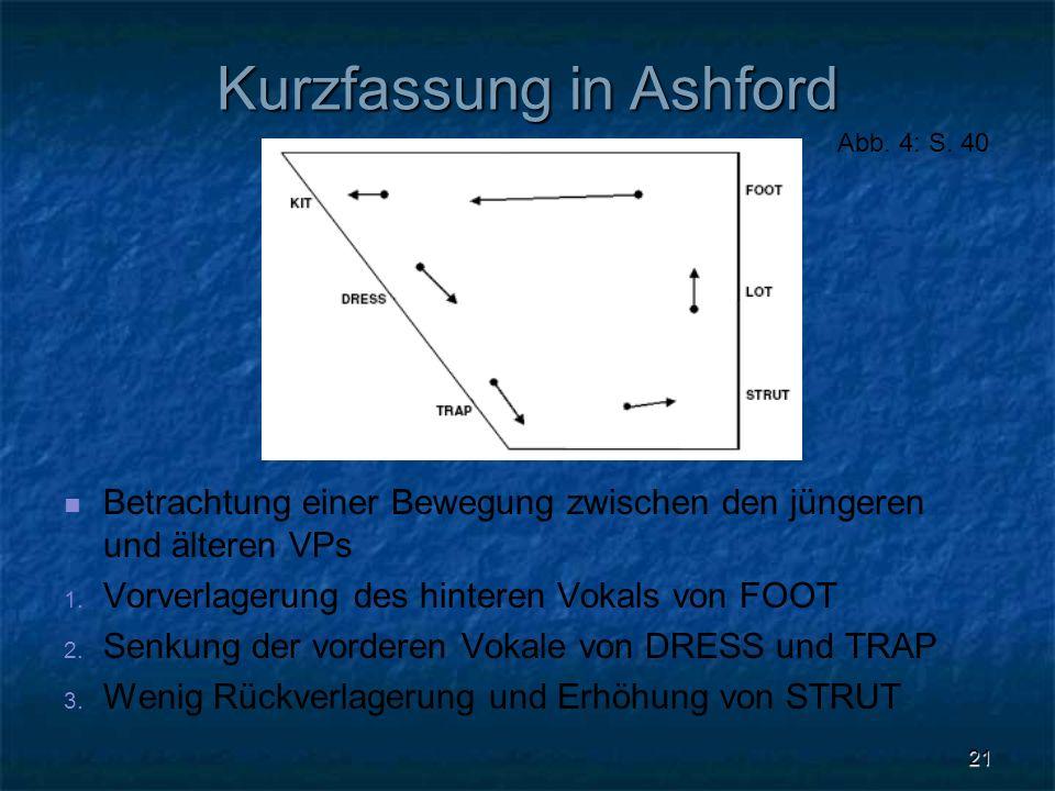 21 Kurzfassung in Ashford Betrachtung einer Bewegung zwischen den jüngeren und älteren VPs 1. 1. Vorverlagerung des hinteren Vokals von FOOT 2. 2. Sen