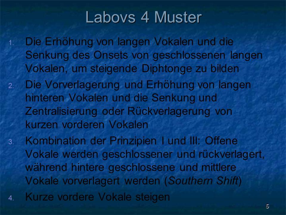 5 Labovs 4 Muster 1. 1. Die Erhöhung von langen Vokalen und die Senkung des Onsets von geschlossenen langen Vokalen, um steigende Diphtonge zu bilden