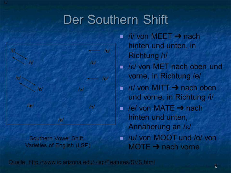 6 Der Southern Shift /i/ von MEET nach hinten und unten, in Richtung / ɪ / / ɛ / von MET nach oben und vorne, in Richtung /e/ / ɪ / von MITT nach oben