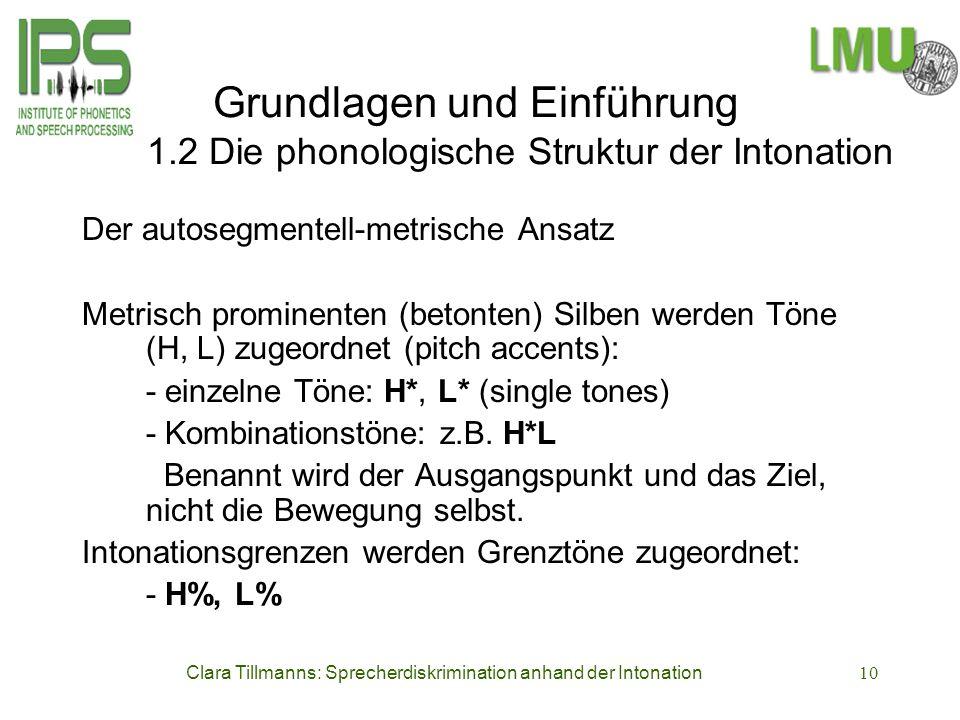 Clara Tillmanns: Sprecherdiskrimination anhand der Intonation10 Grundlagen und Einführung 1.2 Die phonologische Struktur der Intonation Der autosegmen