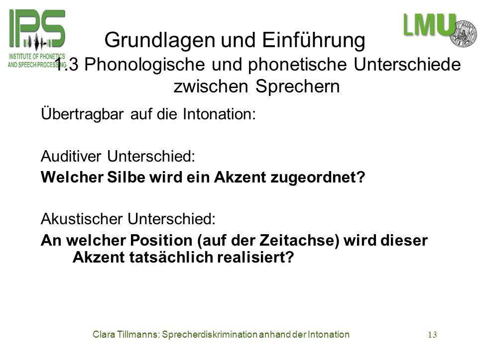 Clara Tillmanns: Sprecherdiskrimination anhand der Intonation13 Grundlagen und Einführung 1.3 Phonologische und phonetische Unterschiede zwischen Spre