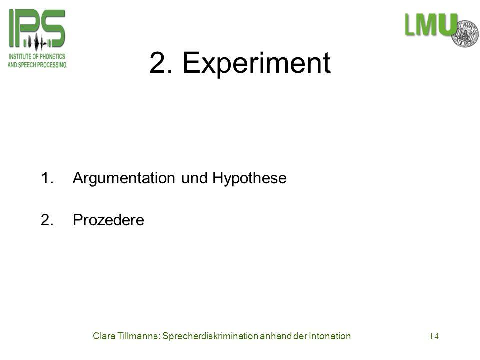 Clara Tillmanns: Sprecherdiskrimination anhand der Intonation14 2. Experiment 1. Argumentation und Hypothese 2.Prozedere