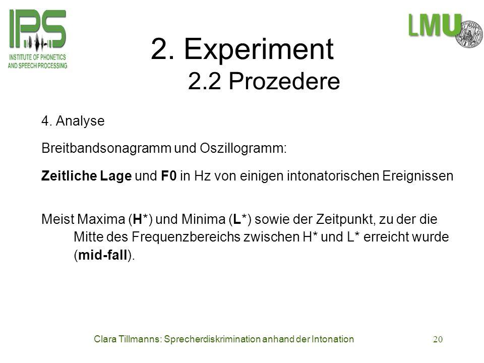 Clara Tillmanns: Sprecherdiskrimination anhand der Intonation20 2. Experiment 2.2 Prozedere 4. Analyse Breitbandsonagramm und Oszillogramm: Zeitliche