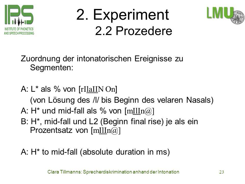 Clara Tillmanns: Sprecherdiskrimination anhand der Intonation23 2. Experiment 2.2 Prozedere Zuordnung der intonatorischen Ereignisse zu Segmenten: A: