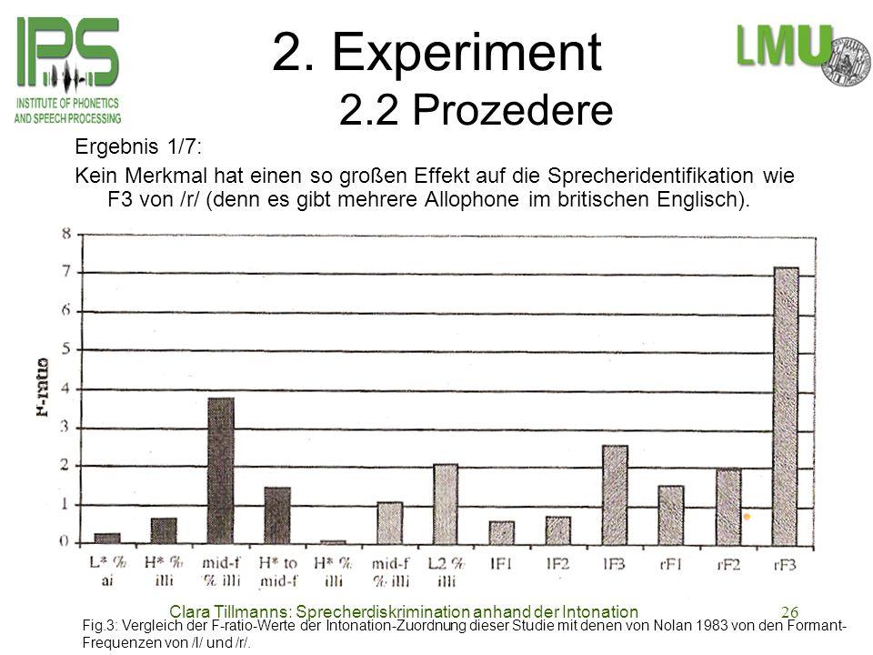 Clara Tillmanns: Sprecherdiskrimination anhand der Intonation26 2. Experiment 2.2 Prozedere Ergebnis 1/7: Kein Merkmal hat einen so großen Effekt auf