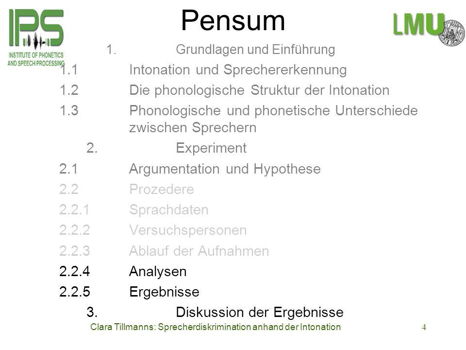 Clara Tillmanns: Sprecherdiskrimination anhand der Intonation4 Pensum 1. Grundlagen und Einführung 1.1 Intonation und Sprechererkennung 1.2Die phonolo