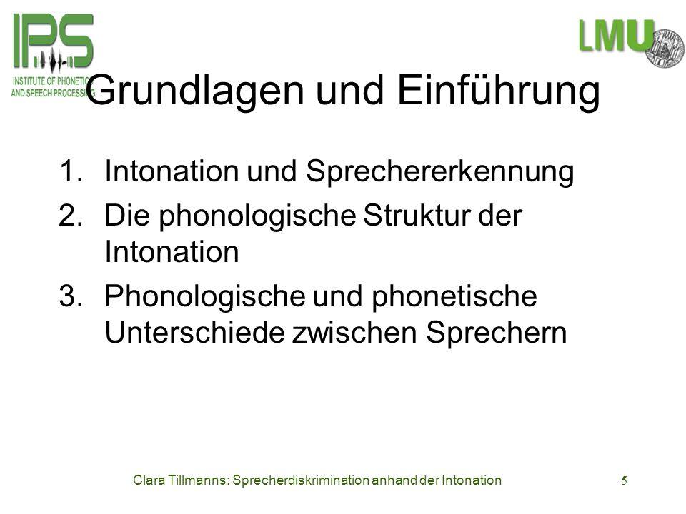 Clara Tillmanns: Sprecherdiskrimination anhand der Intonation5 Grundlagen und Einführung 1.Intonation und Sprechererkennung 2.Die phonologische Strukt