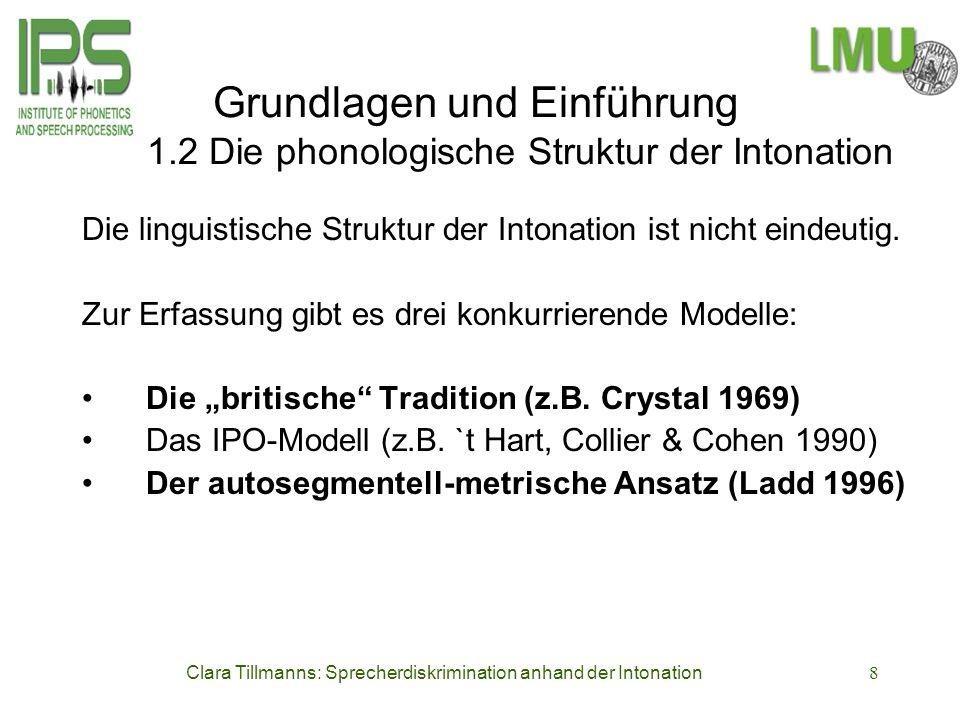 Clara Tillmanns: Sprecherdiskrimination anhand der Intonation8 Grundlagen und Einführung 1.2 Die phonologische Struktur der Intonation Die linguistisc