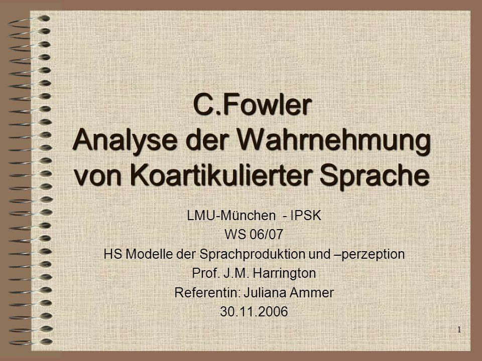 1 C.Fowler Analyse der Wahrnehmung von Koartikulierter Sprache LMU-München - IPSK WS 06/07 HS Modelle der Sprachproduktion und –perzeption Prof.