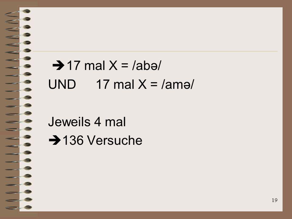 18 Zwei verschiedene Typen: Typ 1: A und B sind Varianten von /abə/ und X ist /amə/ Typ 2: A und B sind Varianten von /amə/ und X ist /abə/ z.B.