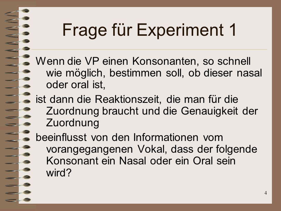 4 Frage für Experiment 1 Wenn die VP einen Konsonanten, so schnell wie möglich, bestimmen soll, ob dieser nasal oder oral ist, ist dann die Reaktionszeit, die man für die Zuordnung braucht und die Genauigkeit der Zuordnung beeinflusst von den Informationen vom vorangegangenen Vokal, dass der folgende Konsonant ein Nasal oder ein Oral sein wird?