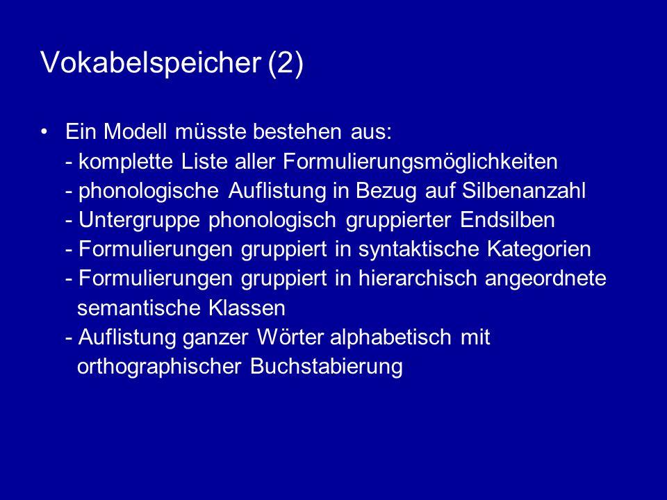 Vokabelspeicher (2) Ein Modell müsste bestehen aus: - komplette Liste aller Formulierungsmöglichkeiten - phonologische Auflistung in Bezug auf Silbena