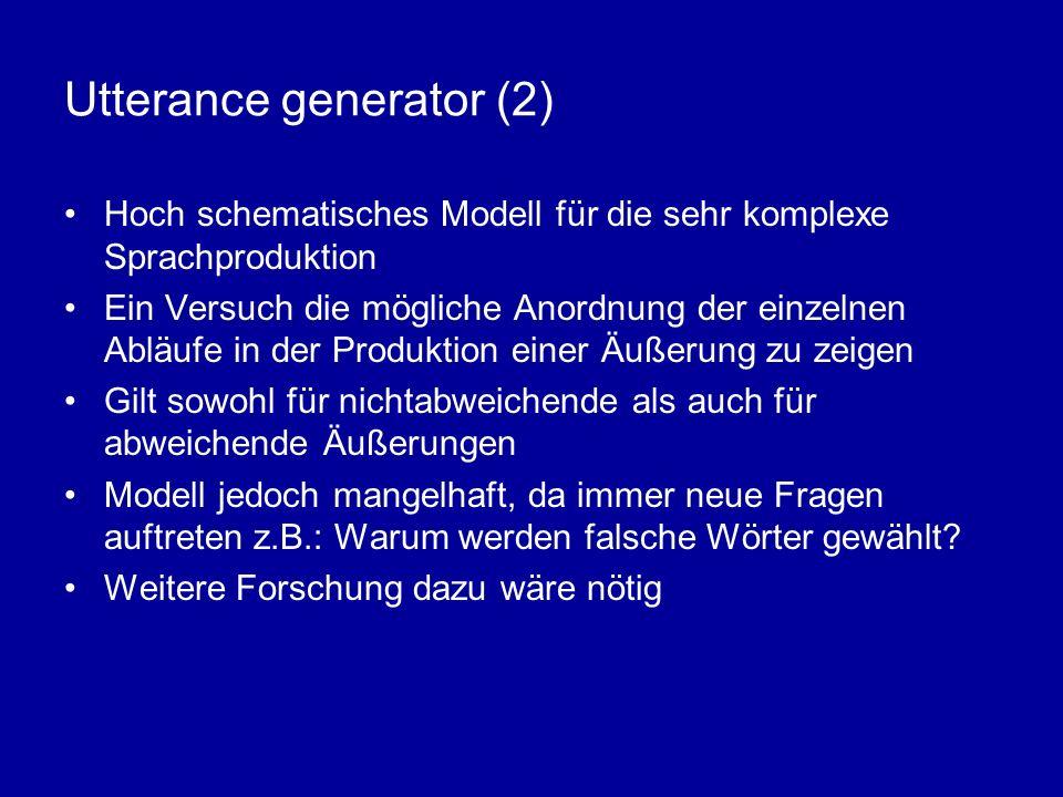 Utterance generator (2) Hoch schematisches Modell für die sehr komplexe Sprachproduktion Ein Versuch die mögliche Anordnung der einzelnen Abläufe in d
