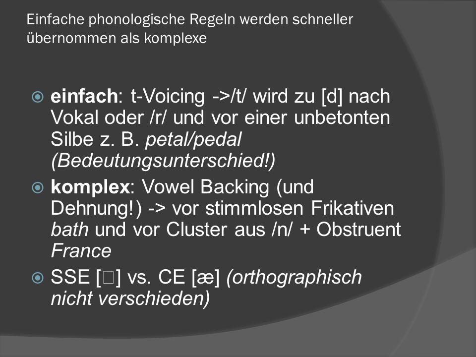 Einfache phonologische Regeln werden schneller übernommen als komplexe einfach: t-Voicing ->/t/ wird zu [d] nach Vokal oder /r/ und vor einer unbetonten Silbe z.