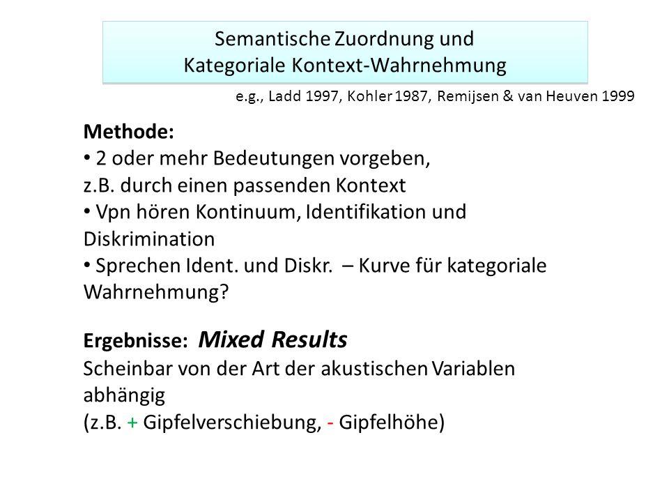 Semantische Zuordnung und Kategoriale Kontext-Wahrnehmung Semantische Zuordnung und Kategoriale Kontext-Wahrnehmung Methode: 2 oder mehr Bedeutungen v