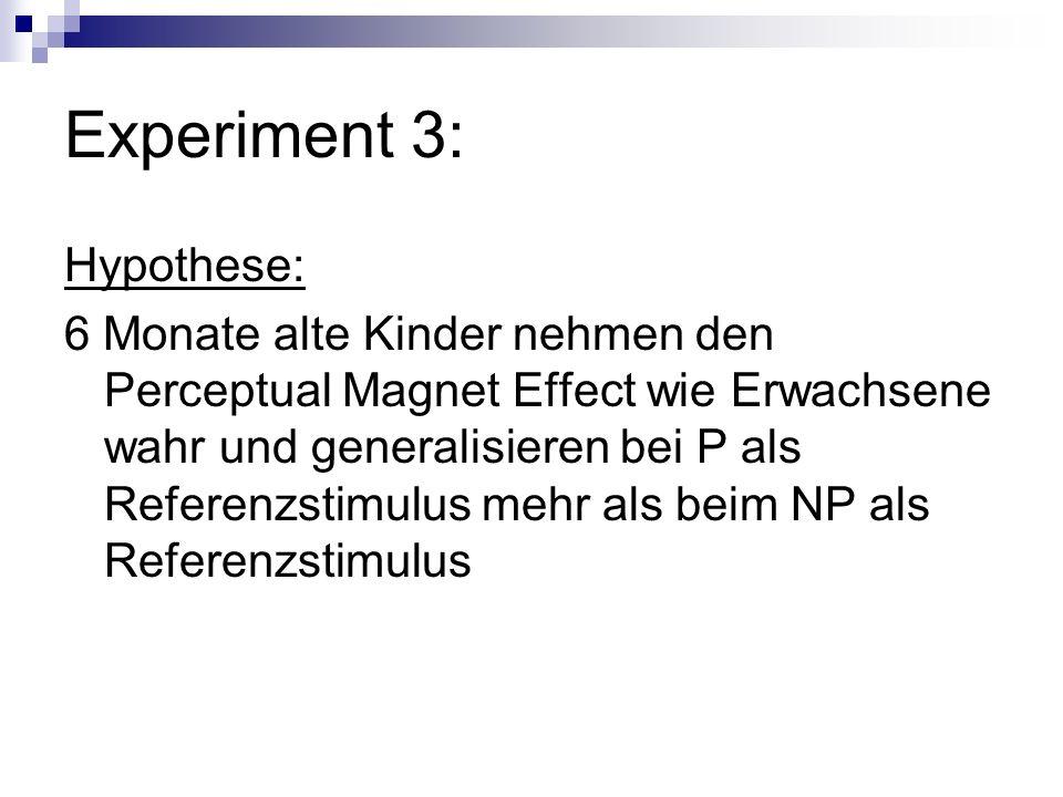 Experiment 3: Hypothese: 6 Monate alte Kinder nehmen den Perceptual Magnet Effect wie Erwachsene wahr und generalisieren bei P als Referenzstimulus me