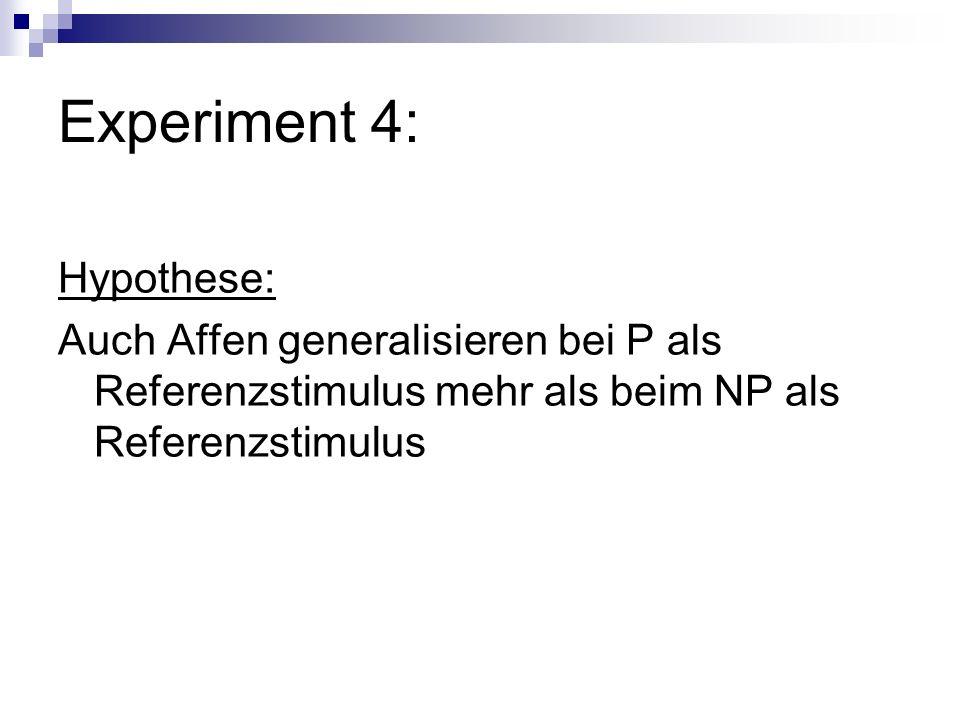Experiment 4: Hypothese: Auch Affen generalisieren bei P als Referenzstimulus mehr als beim NP als Referenzstimulus