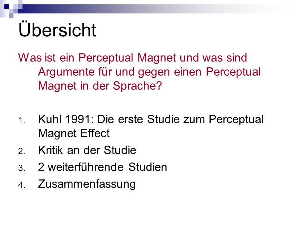 Übersicht Was ist ein Perceptual Magnet und was sind Argumente für und gegen einen Perceptual Magnet in der Sprache? 1. Kuhl 1991: Die erste Studie zu