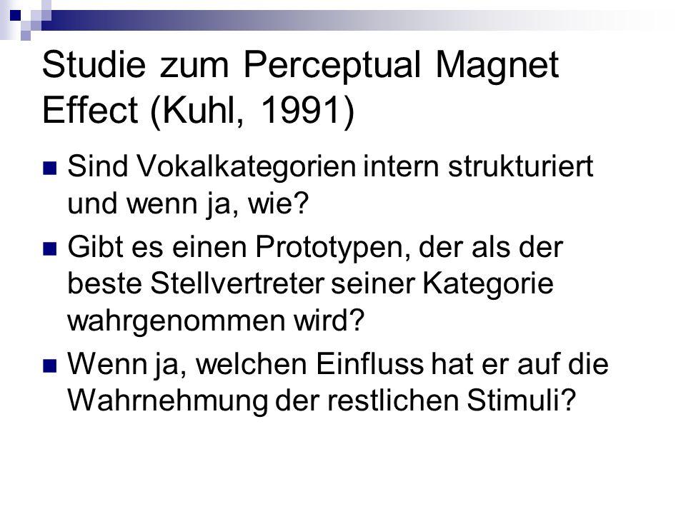 Studie zum Perceptual Magnet Effect (Kuhl, 1991) Sind Vokalkategorien intern strukturiert und wenn ja, wie? Gibt es einen Prototypen, der als der best