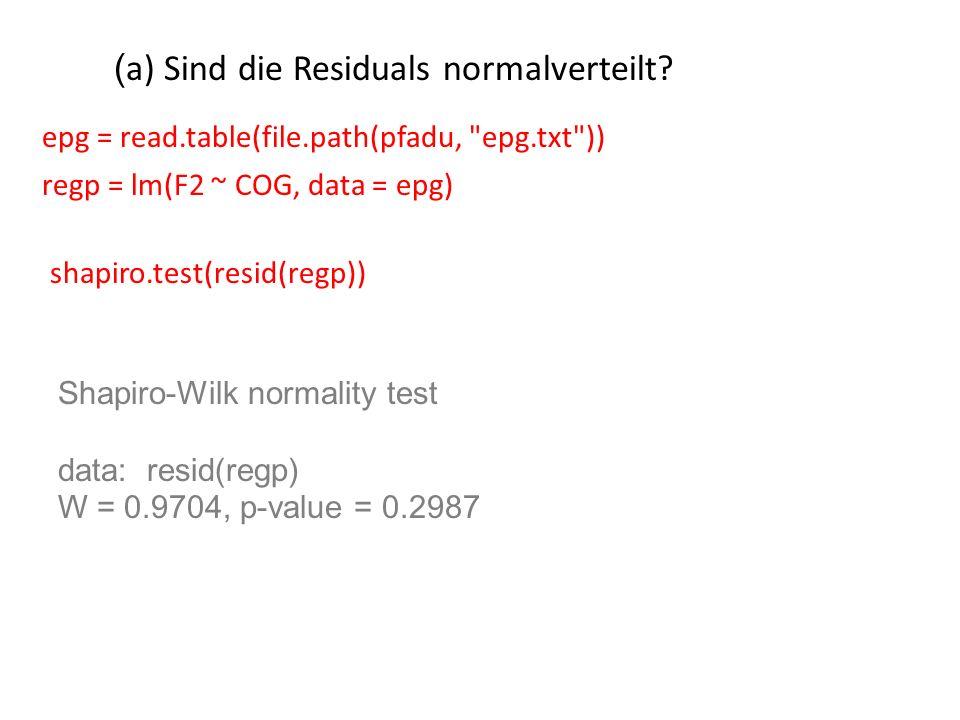 ( a) Sind die Residuals normalverteilt? regp = lm(F2 ~ COG, data = epg) shapiro.test(resid(regp)) Shapiro-Wilk normality test data: resid(regp) W = 0.