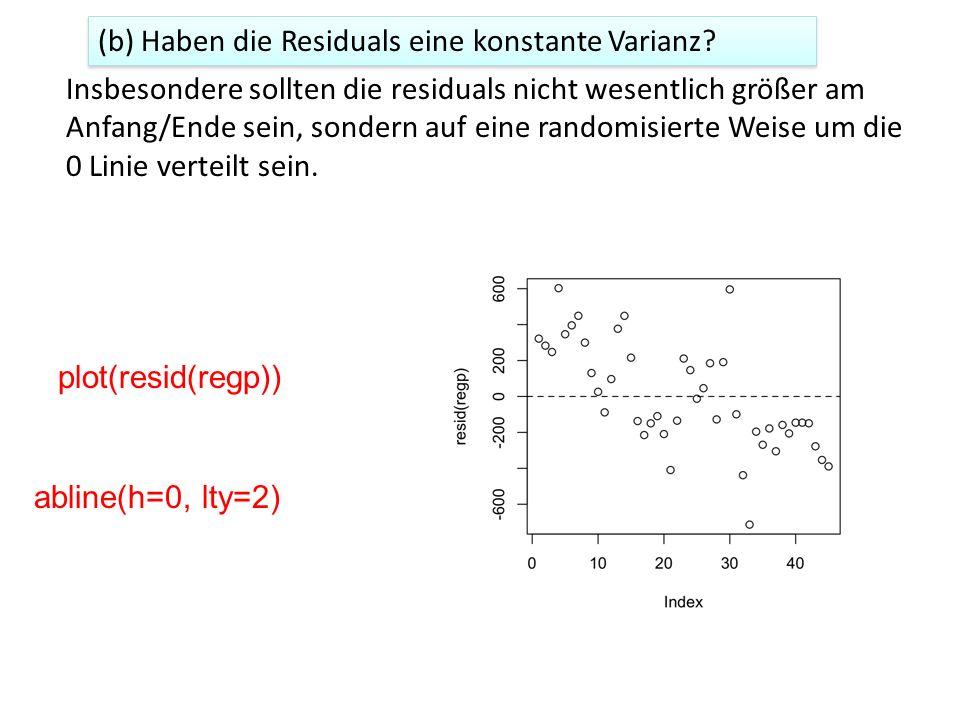 (b) Haben die Residuals eine konstante Varianz.