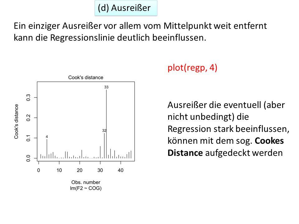 with(epg, plot(COG, F2, cex = 10*sqrt(cooks.distance(regp)))) with(epg, text(COG, F2, as.character(1:length(F2)))) Die Cookes-Entfernungen und daher Ausreißer könnten auch mit einem sogenannten bubble plot abgebildet werden (d) Ausreißer