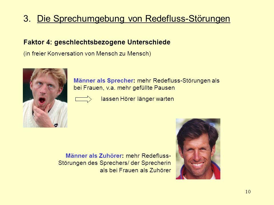 10 3. Die Sprechumgebung von Redefluss-Störungen Faktor 4: geschlechtsbezogene Unterschiede (in freier Konversation von Mensch zu Mensch) Männer als S