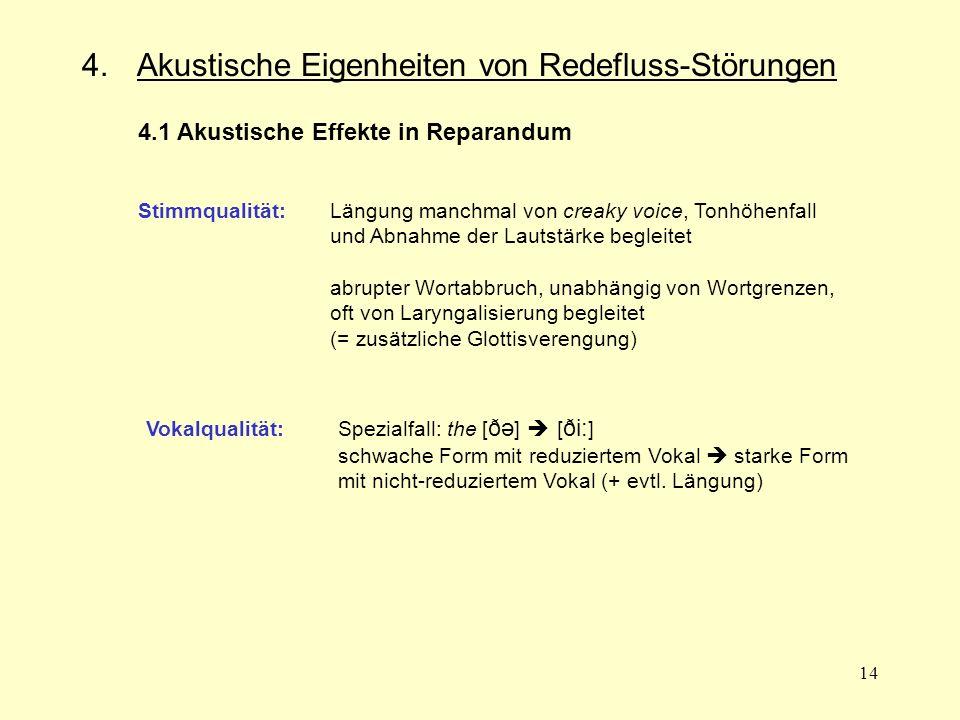 14 4. Akustische Eigenheiten von Redefluss-Störungen 4.1 Akustische Effekte in Reparandum Stimmqualität:Längung manchmal von creaky voice, Tonhöhenfal