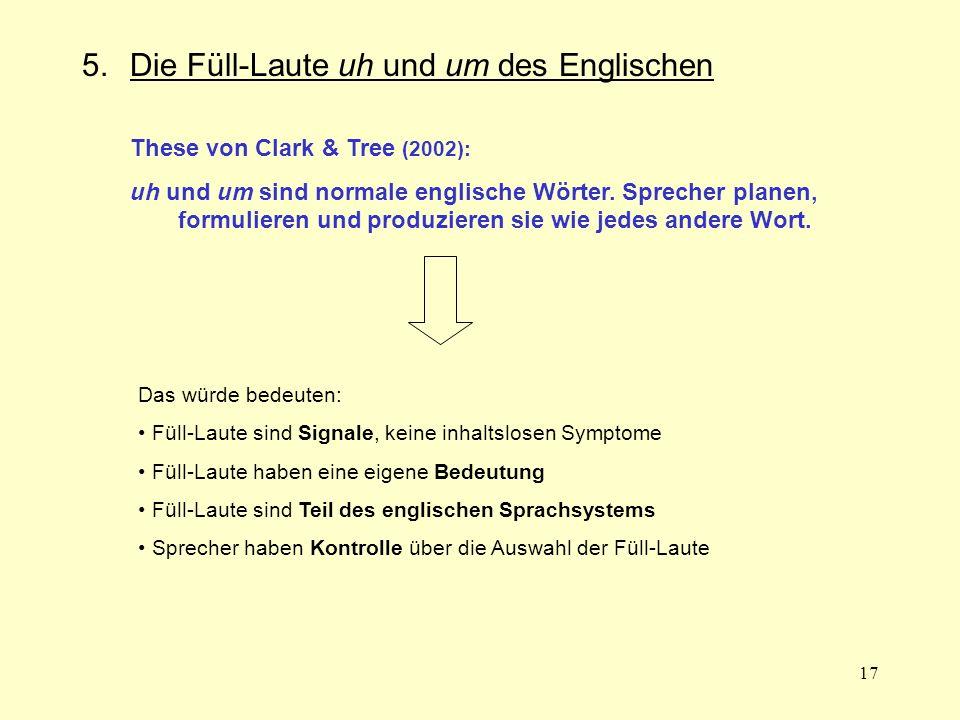 17 5.Die Füll-Laute uh und um des Englischen These von Clark & Tree (2002): uh und um sind normale englische Wörter. Sprecher planen, formulieren und