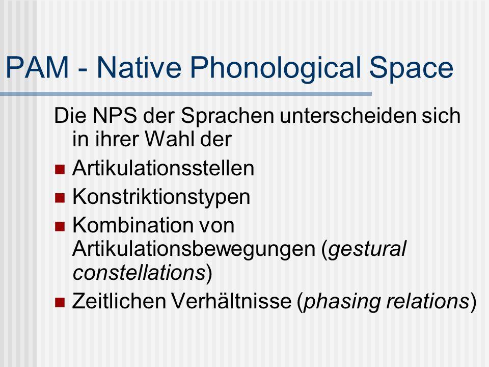 PAM - Native Phonological Space Die NPS der Sprachen unterscheiden sich in ihrer Wahl der Artikulationsstellen Konstriktionstypen Kombination von Arti